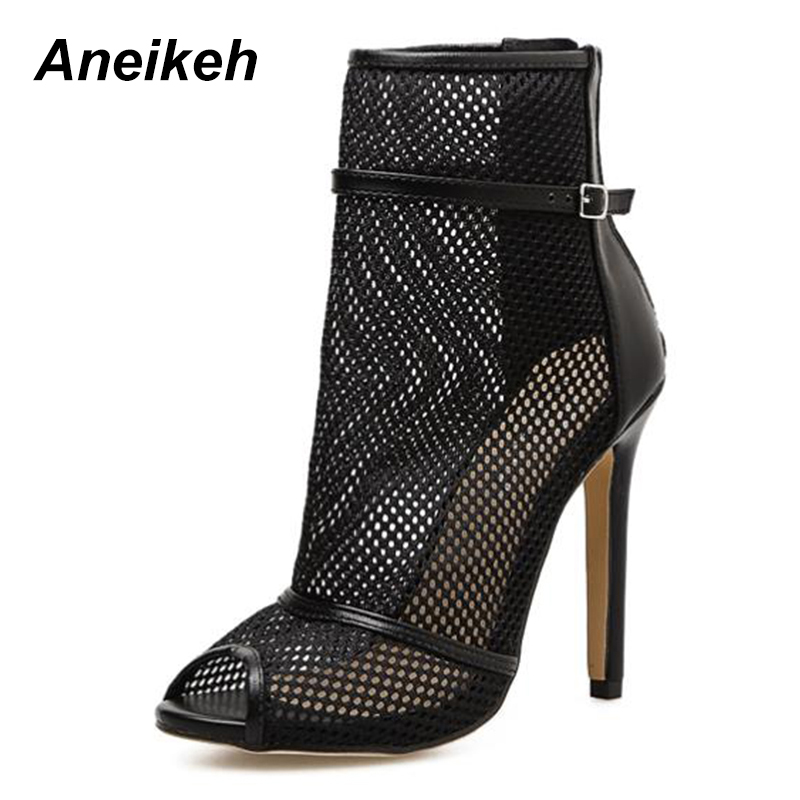 Aneikeh Sexy Black Mesh Patchwork Ladies Cut Out Style High Heels Summer  2018 Hot Zipper Women Shoes Peep Toe Sandals Boots -in Ankle Boots from  Shoes on ... 8c2348c951a6