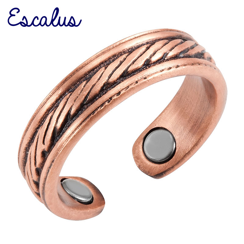 Escalus Ladies Antique Copper Parallel Lines Magnetic Ring Resizable Female Magnets Women Jewelry Charm Finger Wear