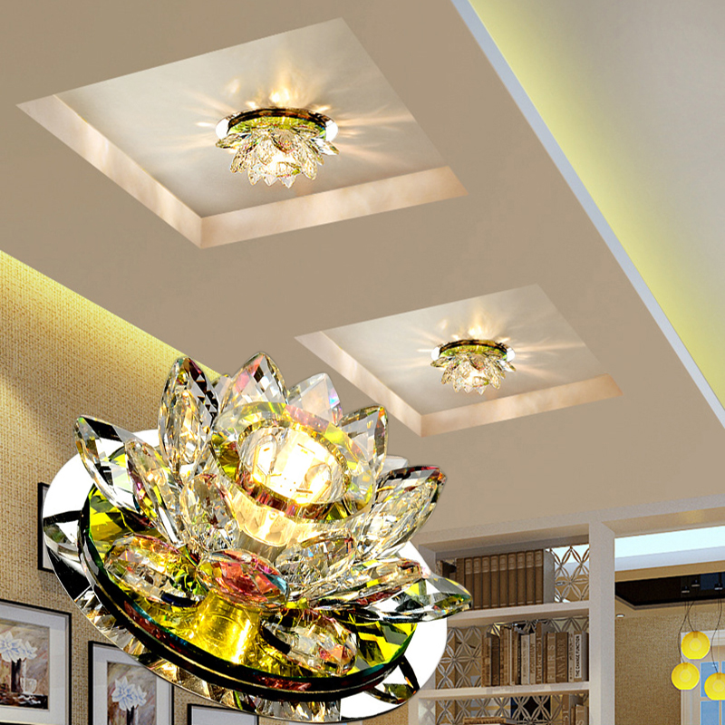 LAIMAIK cristal LED luces de techo 3 W AC90-260V moderna lámpara de cristal LED pasillo corredor porche lámpara iluminación luces de loto