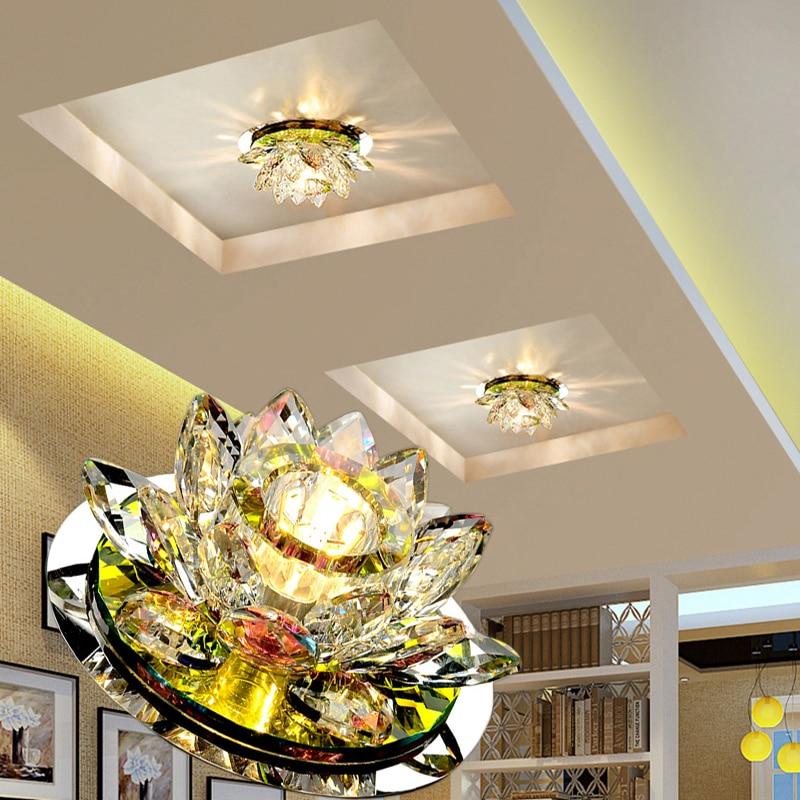 LAIMAIK Crystal LED Ceiling Lights 3W AC90-260V Modern LED Crystal Lamp Aisle Corridor Led Porch Lamp Lighting Lotus Lights