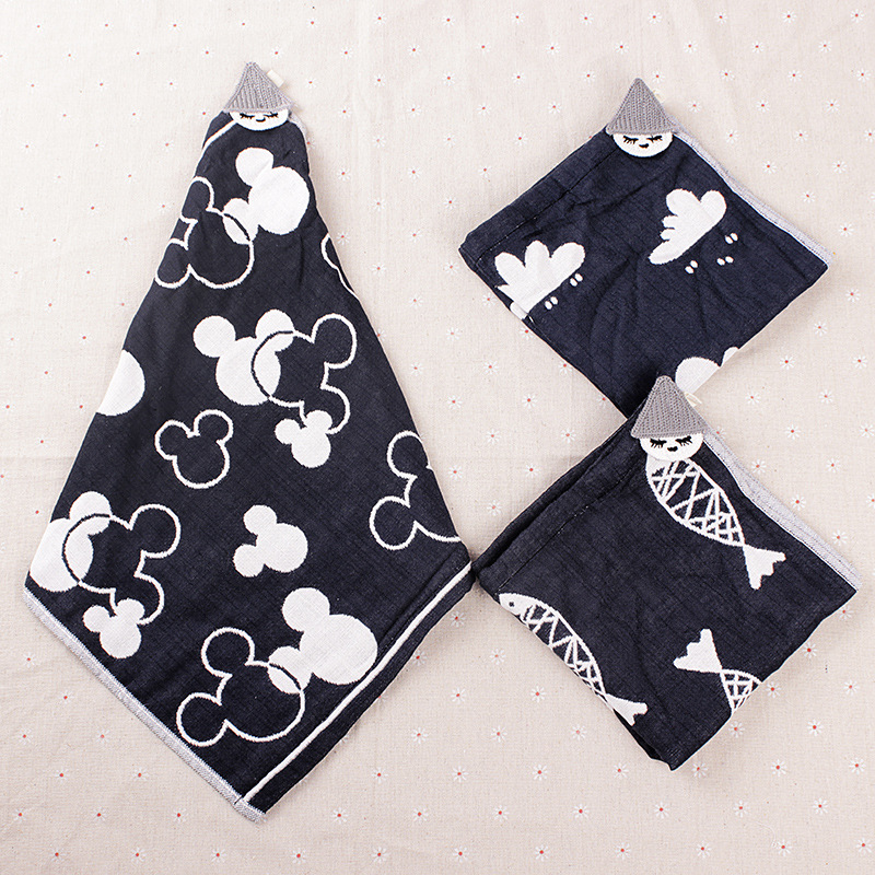Pure Cotton 6 layer Yarn Handkerchief Towels Cartoon Square Towel Absorbs Water Baby Kids Wipe Face Towel Soft Skin-friendly