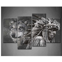 Diamond Embroidery Black and White wolf and Indians Diy Full Diamond Painting Square Drill Rhinestone Pasted Decoration BK 4960