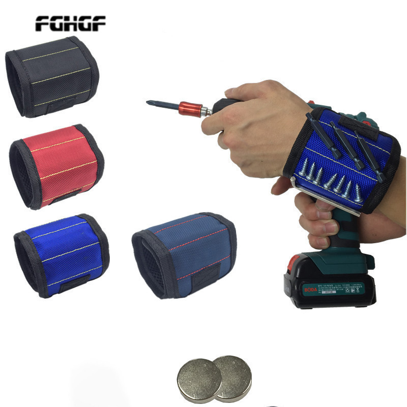 Polyester Magnetic Wristband Portable Tool Bag Electrician Wrist Tool Belt Screws Nails Drill Bits Holder Repair Tools