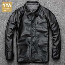 New Brand Mens Clothes 2019 Jaqueta Masculina Lapel Business Genuine Leather Jacket Men Single Breasted Coat