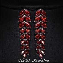 Alta Calidad Cubic Zirconia Creado Diamond Joyería Oro Blanco Plateado Pendientes Para Las Mujeres Del Banquete de Boda de Largo Rojo Rubí Oscuro CZ260