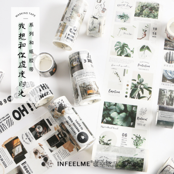 Digital Calendar Postcard Bullet Journal Travelling Washi Tape Adhesive Masking Tape DIY Scrapbooking Sticker Label Japanese