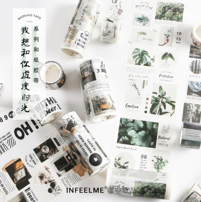 Digital Calendar Postcard Bullet Journal Travelling Washi Tape Adhesive Masking Tape DIY Scrapbooking Sticker Label Japanese