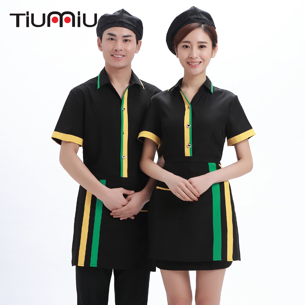 Spliced Color 2018 New Arrival Chef Waiter Uniform Turn-down Collar Short-sleeve Overalls Summer Hotel Cafe Bakery Hot Pot Shirt