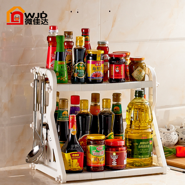 kitchen spice rack long tables new year plastic 2 seasoning shelf storage supplies