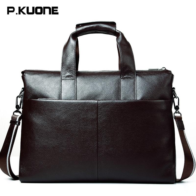 Fashion Genuine Leather Bag Business Men's Handbag Briefcase Brand Cowhide Laptop Bags Men's Travel Bag Shoulder Messenger Bags
