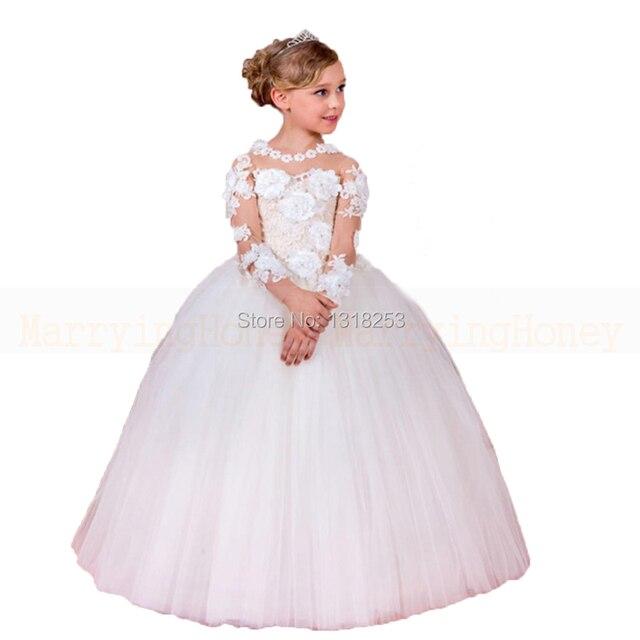 a36b8a76149 Robe petite fille d honneur avec Floral À Manches Longues Fleur Filles Robes  Blanc fille