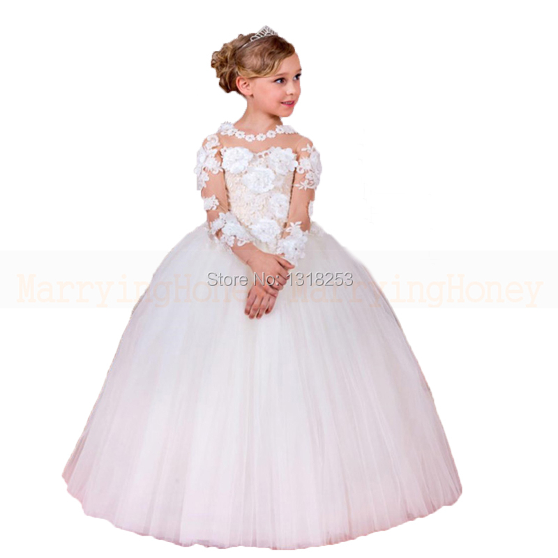 Robe petite fille d 39 honneur with florals long sleeve flower girls dresses white girl first - Robe petite fille d honneur ...