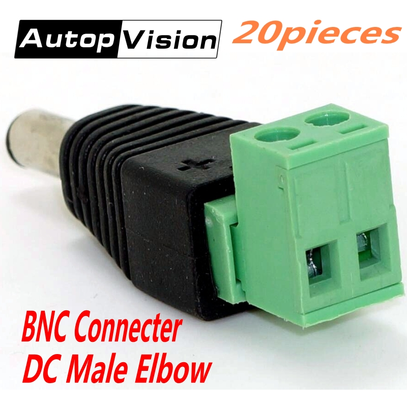 20pcs/lot CCTV Surveillance BNC Accessories DC Power Plug BNC Connector DC Male Elbow Adapter For CCTV IP Camera Power Supply