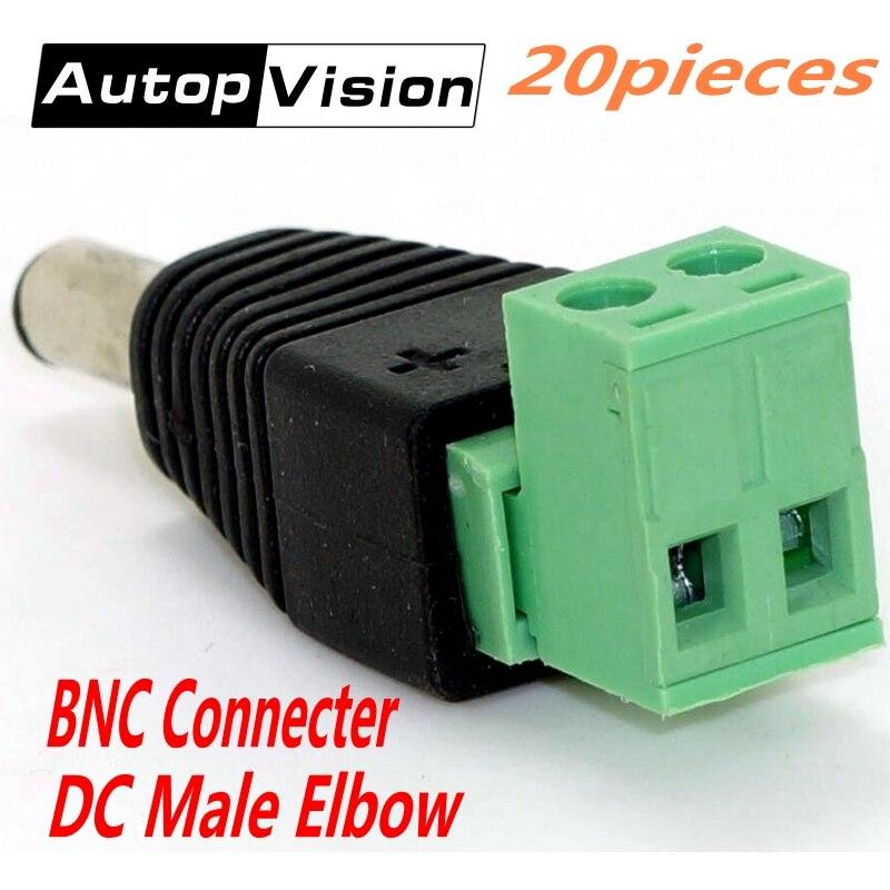 20pcs/lot CCTV Surveillance BNC Accessories DC Power Plug BNC Connector DC Male Elbow Adapter For CCTV IP Camera Power Supply