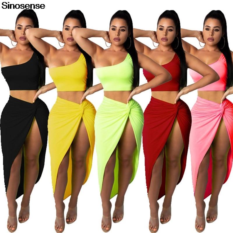 d3c2540b60b Women Two Piece Set 2019 Summer One Shoulder Crop Top Front Slit Ruched  Midi Clubwear Skirt