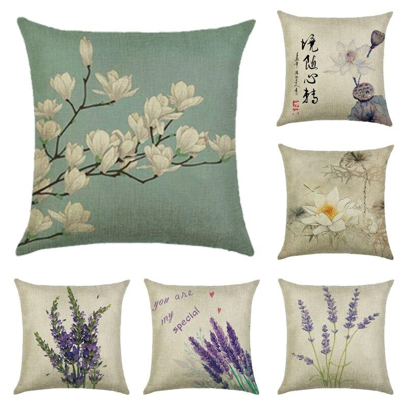 Cushion Cover Plant Lavender Linen/cotton Flower Design Pillow Case Home Decorative  Pillow Cover Seat