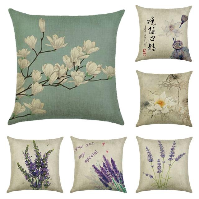 Cushion Cover Plant Lavender Linen Cotton Flower Design Pillow Case Home Decorative Seat