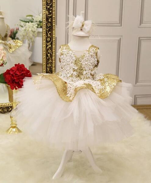 Południowa arabski koronki aplikacje złoto błyszczące cekiny puffy sukienka dla dziewczynki z kwiatami dziecięce ubrania dla dzieci maluch sukienki na przyjęcie urodzinowe maluch korowód suknia w Suknie od Matka i dzieci na AliExpress - 11.11_Double 11Singles' Day 1