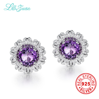 l&zuan trendy 5.96ct Natural Amethyst Purple Stone Elegant 925 Sterling Clip Earrings fine jewelry earrings for women