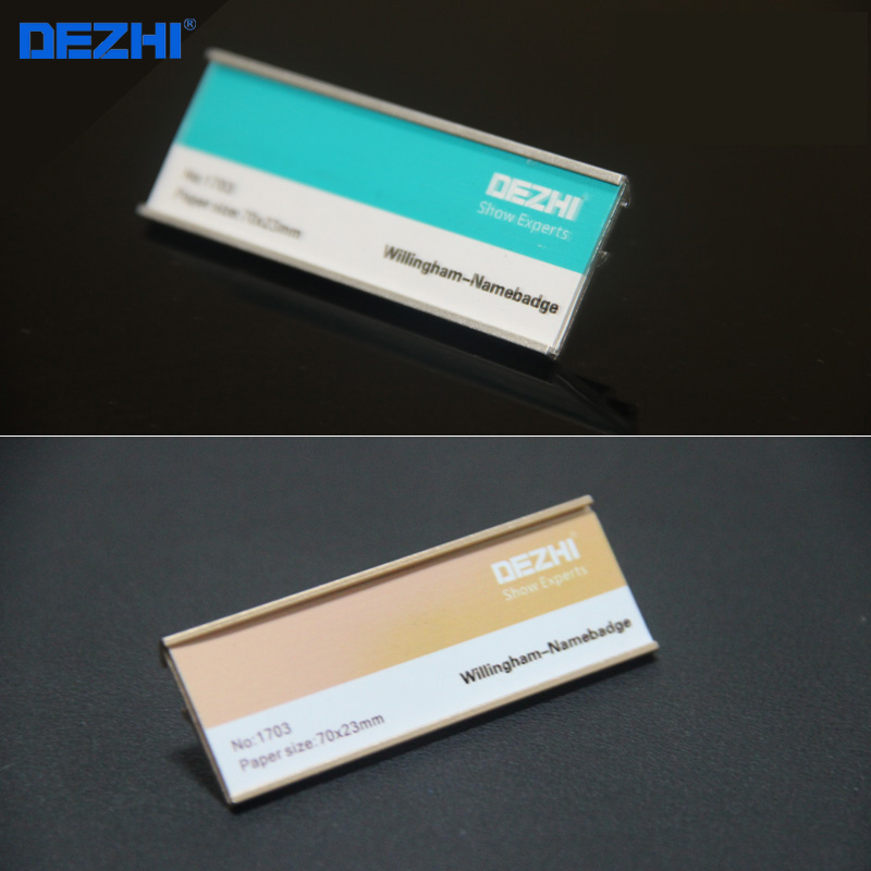 DEZHI Name Badge Wholesaler Brooch/Magnets Metal Name Plate Badge Fastener Brooch Holder Card Name Tag 70*23mm