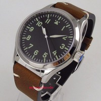 42mm Corgeut black sterile dial Sapphire Glass leather strap 21 jewels miyota Automatic mens Watch
