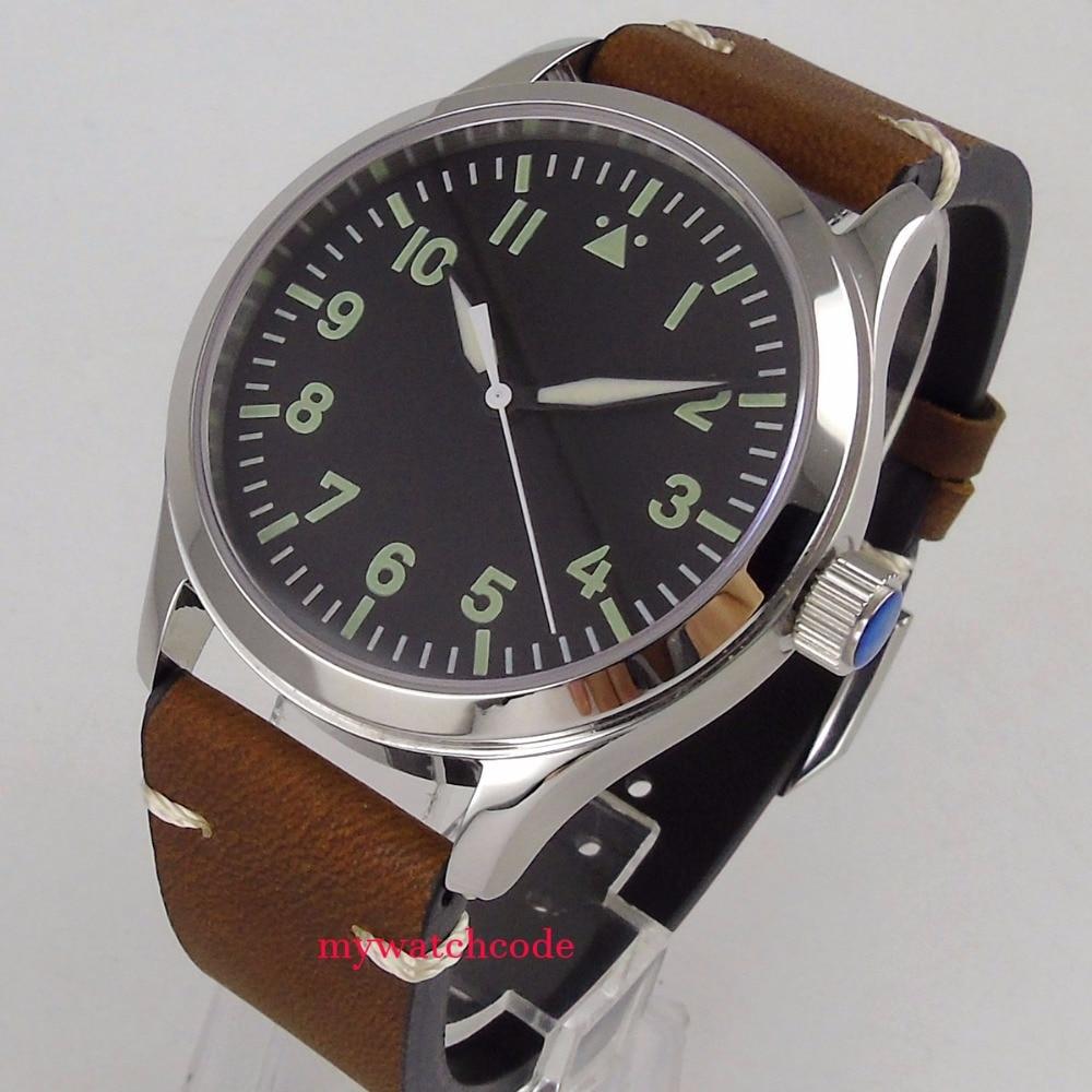 42mm Corgeut noir stérile cadran Saphir Verre bracelet en cuir 21 bijoux miyota Automatique mens Montre