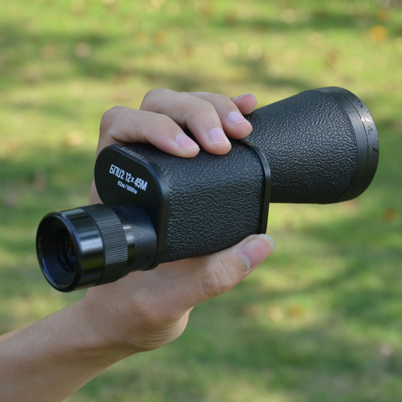 BAIGISH 12X45 Monocular Telescope Russian Metal High Power HD Hand Large Objective Lens Diameter Spyglass Spotting