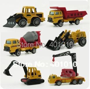 6 pcs / set alloy car model crane mixer excavator loader bulldozers truck engineer vehicle pocket boy baby toys free air mail