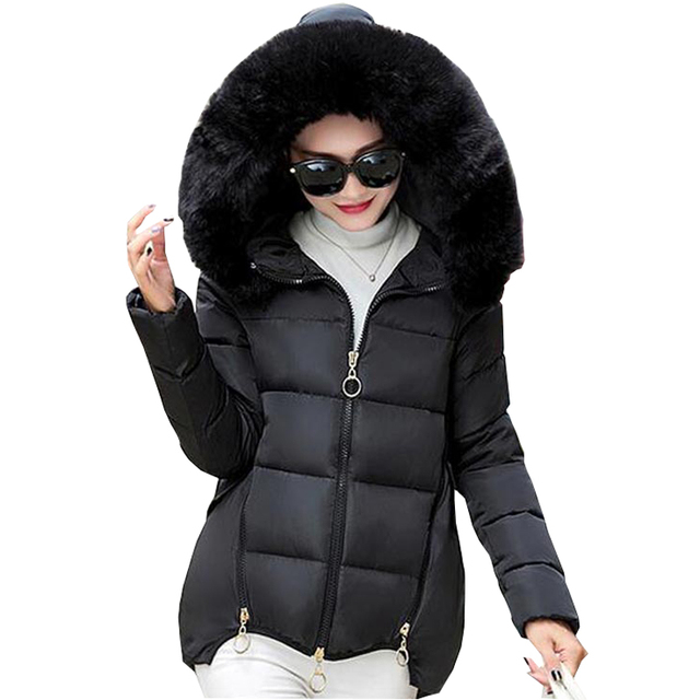2016 brand new fashion winter jacket cloak loose women down cotton coat hooded parkas thick large faux fur collar coat kp0892
