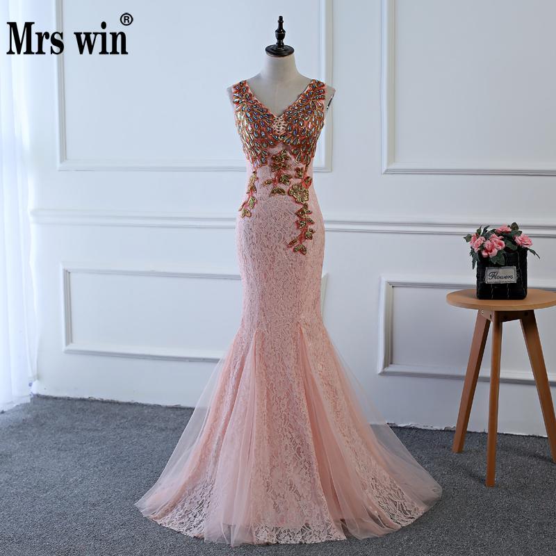 2018 4 Colors Luxury V Neck Long Pink Evening Dress V Neck Cheap ...
