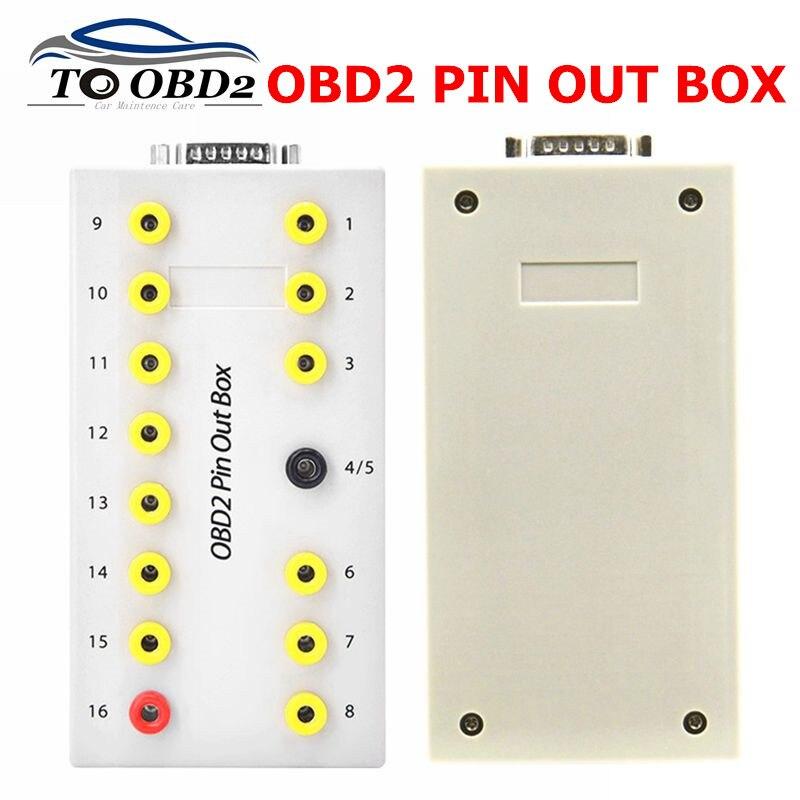 Newest Auto Car OBD 2 PIN Out Box OBD2 Breakout Box OBDII Protocol Detector Diagnostic Connector Detector