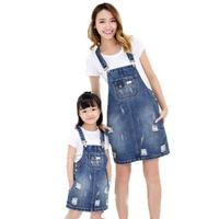 2018 Summer denim hole women denim dress family look overalls jean dress mom and daughter dress matching mother daughter clothes