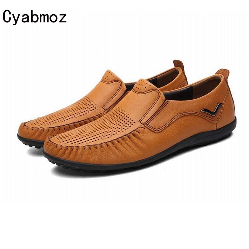 Men Loafers 2018 Casual Boat Shoes Fashion Full Genuine Leather Slip On Driving Shoe Soft Moccasins Hollow Cut Out Flats Gommino bole new handmade genuine leather men shoes designer slip on fashion men driving loafers men flats casual shoes large size 37 47