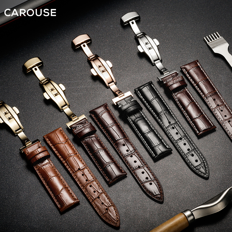 Correa de reloj Carouse 18mm 19mm 20mm 21mm 22mm 24mm becerro correa de reloj de cuero genuino de cocodrilo para Tissot Seiko