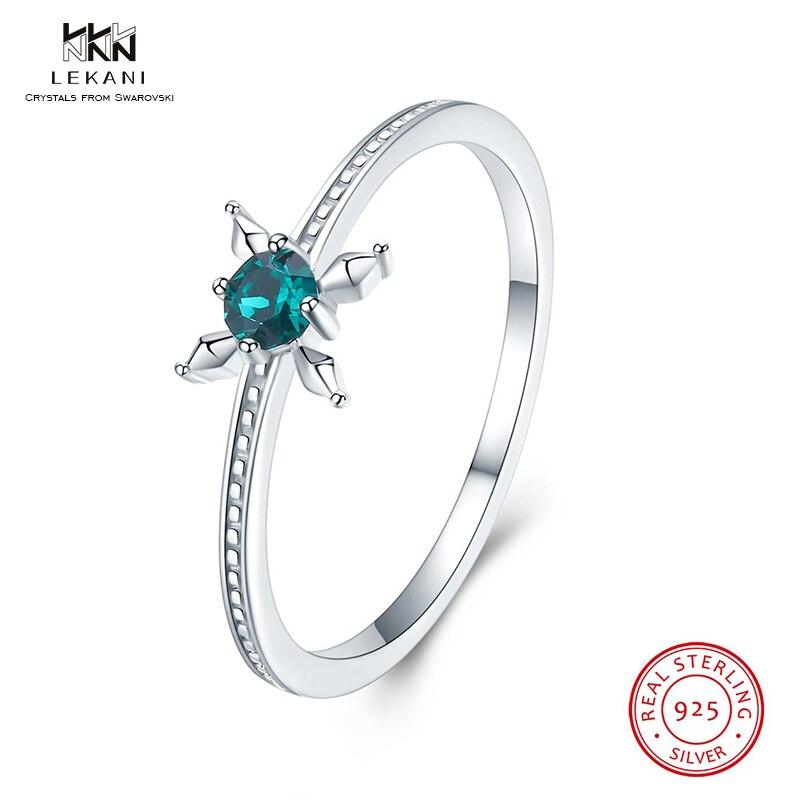 Lekani Crystals From Swarovski Ring 925 Ssterling Silver Wind Flower Crystal Ring Style Wonderful Jewellery Girls Lady Birthday Reward