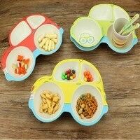 The latest cartoon car shape 5pcs / set Baby Dinnerware Set Bamboo children's tableware free shipping