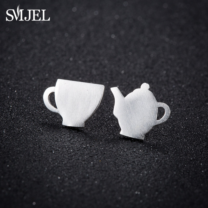 SMJEL New Tea Pot and Tea Cup Stud Earrings for Women Daily Cosplay Metal Coffee Cup Earring Jewelry Birthday Gift brinco