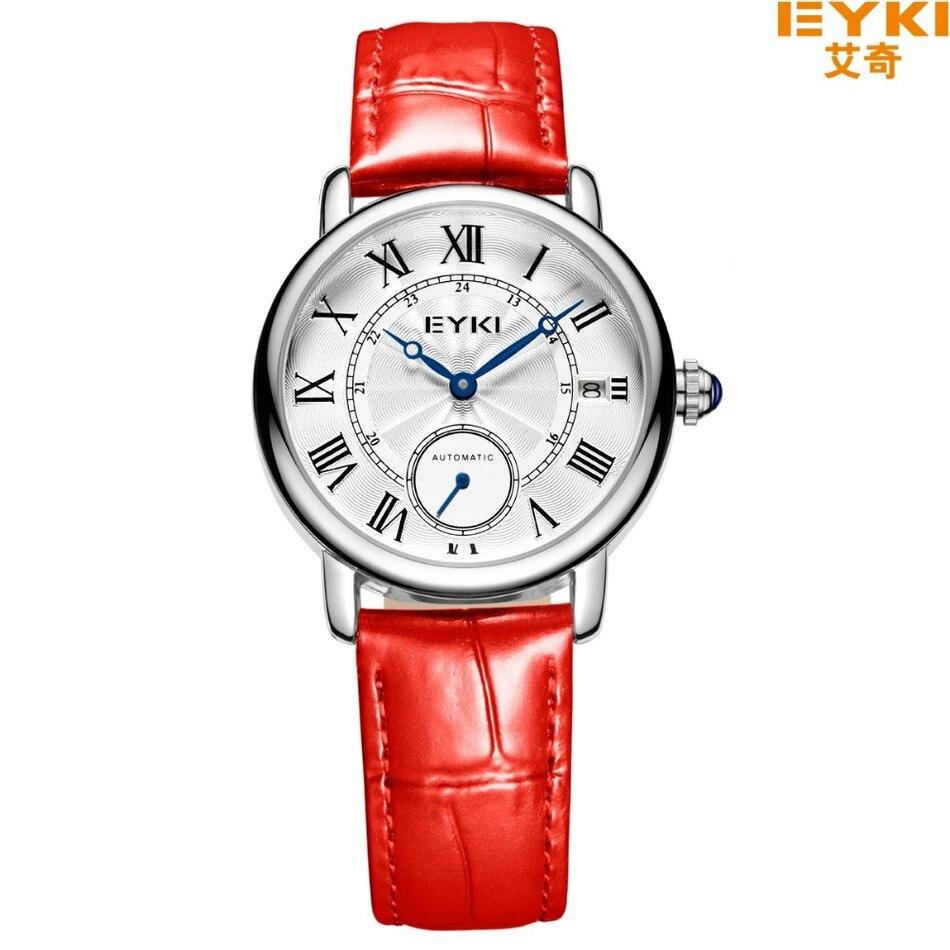 Newest EYKI Brand Fashion Woman Watches Luxury Sapphire Crystal Automatic Self wind Mechanical Leather Wristwatch Reloj
