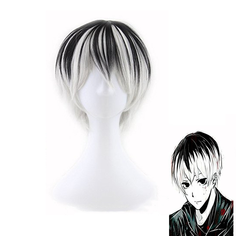 New Japanese Anime Game Tokyo Ghoul Kaneki Ken Cosplay Wig Halloween Play Wig Party Short Mixed Color Black White Wig