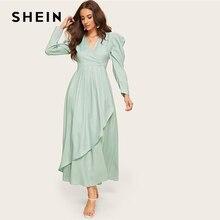 SHEIN الأخضر الرداء الكهنوتي الرقبة تجمع كم غير المتكافئة الحجاب عادي اللباس النساء V الرقبة نفخة كم عالية الخصر طويل خط اللباس
