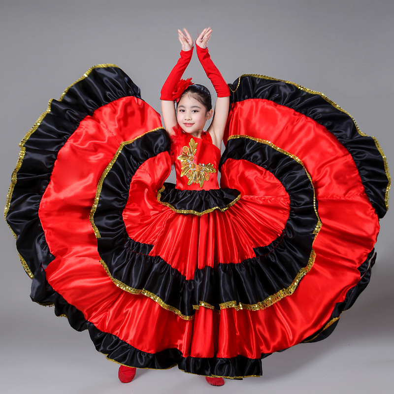 Girls Spanish Bullfighting Dance Dress Ballroom Red Big Swing Dresses Children Flamenco Kids Performance Costume Stage Wear H444