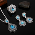 Hensen Hight Qualtiy Vintage Women Jewellery Antique Silver Plated Fashion Blue Austrian Crystal Water Drop Jewelry Sets