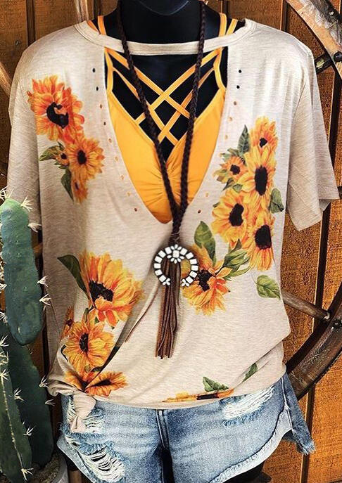 Women Sunflower Cut Out Aesthetic Tshirt Apricot Ladies Vintage Hollow Out Edgyr Graphic Tee Top Plus Size Tumblr Camiseta Mujer