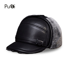HL132 Men's genuine real cow skin leather baseball cap with Faux fur inside  brand new style winter warm Russian caps hats цена