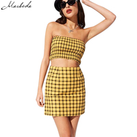 Macheda 2018 New Style Yellow Black Plaid Women 2 Pieces Set Strapless Top And Sheath Skirt