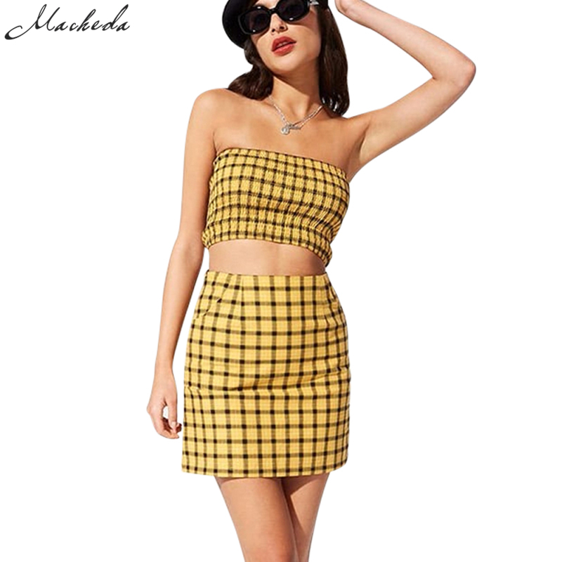 Macheda 2018 Nuovo Stile Yellow Plaid Nero Delle Donne 2 Pezzi Set senza spalline Top E Gonna Guaina Hidden Zipper Fly Donne Sexy Set