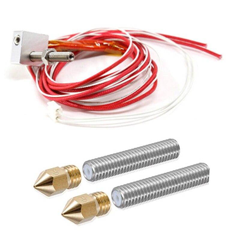 Anet a6 a8 e10 e12 MK8 hotend extruder I3 kits+2pcs 0.4mm nozzles+M6 30/40mm throat teflon tubes 12V 40W for DIY 3d printer part