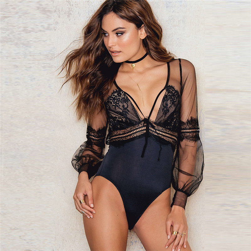2019 New Arrival Mesh Women Bodysuits Sexy Hollow Out Patchwork Female Romper Playsuit V-neck Black Color Lady Jumpsuits
