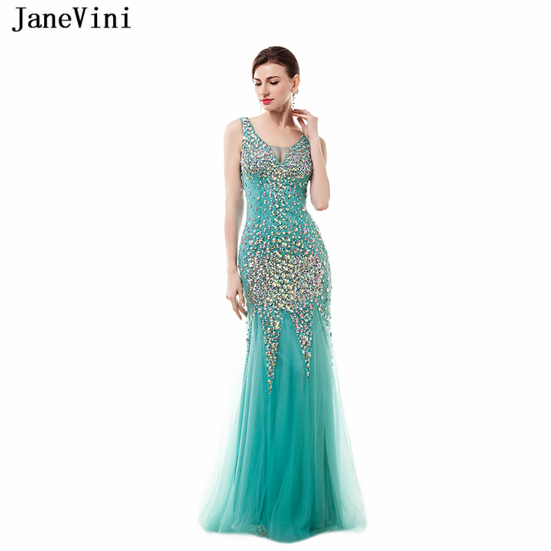 JaneVini 2018 Sexy Mermaid Tulle Long   Bridesmaid     Dresses   V Neck Luxurious Prom   Dress   Crystal Beaded Floor Length Prom Party Wear