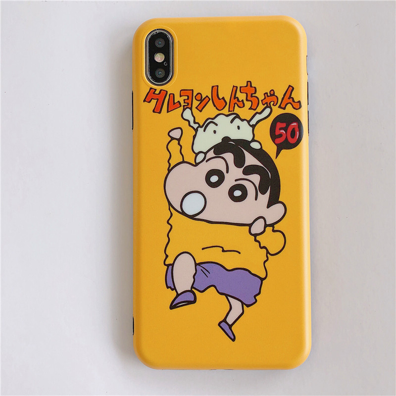 Cute Cartoon Crayon Shin chan Phone Cases For iPhone 8 7 6S 6 S Plus Case Silicon Soft TPU Cover Case For iPhone X XS MAX XR in Fitted Cases from Cellphones Telecommunications